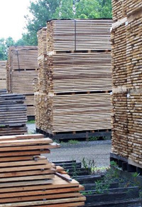 air drying stacks of lumber