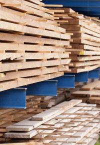 lumber on shelves